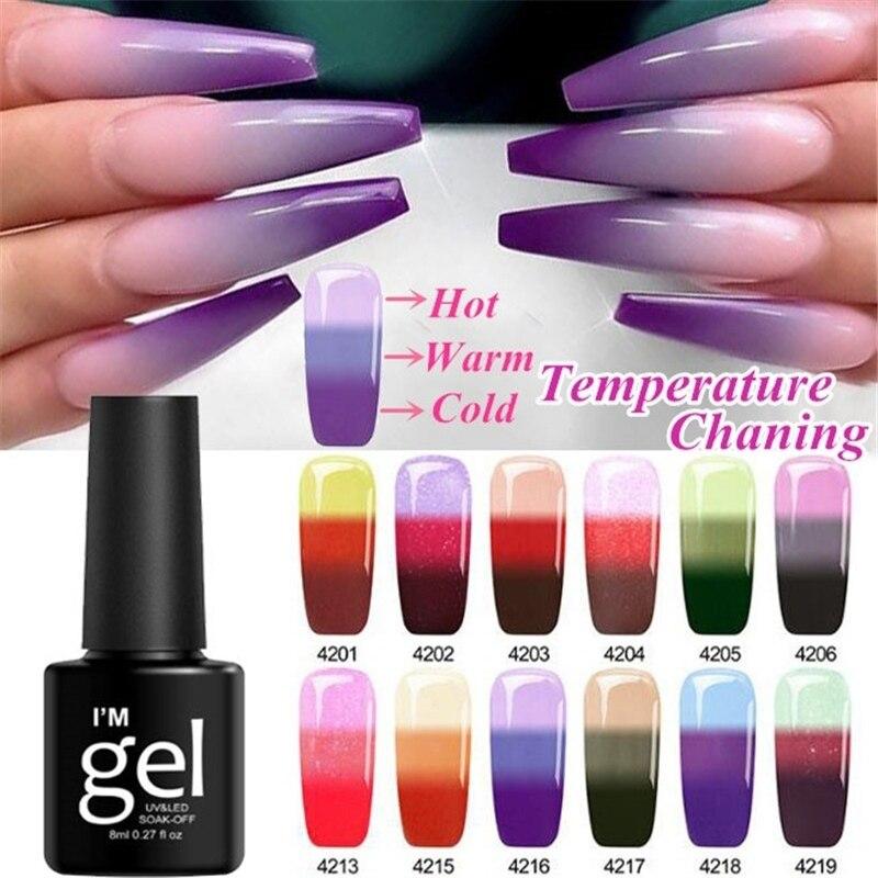 12 Colors Gel Nail Temperature Change Semi-permanent Nail Polish Nail Polish Absorbable Gel Paint