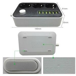 Image 2 - אלקטרוני כוח רצועת שקע האיחוד האירופי Plug 3 יציאות AC 6 USB טעינת יציאות עומס יתר הגנה הארכת 1.5M כבל רשת מסנן