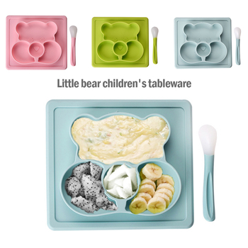 Creative Silicon Cartoon Bear Plate Infants Supplementary Food Box Baby Learning Plate BPA Free Baby Training Bowl