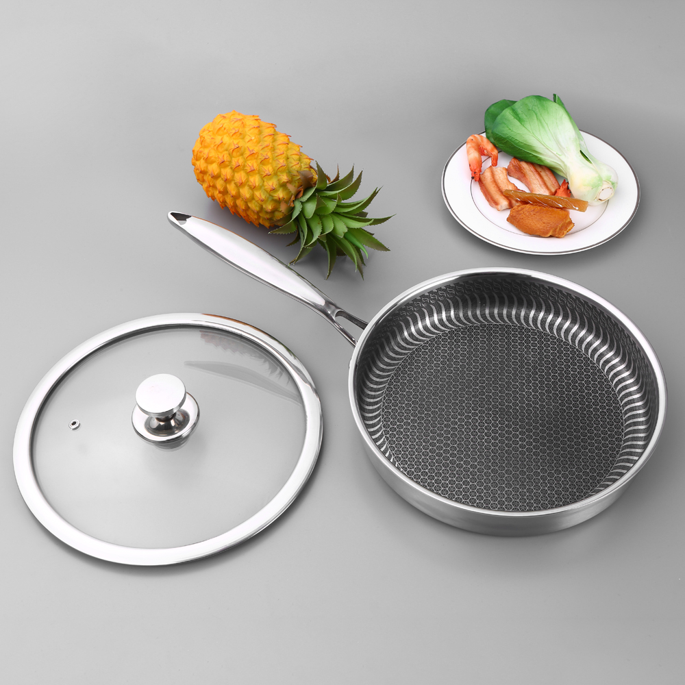 Stainless Steel Non-stick Fry Pan Nonstick Pan With Lid Saucepan Stockpot Fast Heat-up Food Cooker Kitchen Product 2019 New