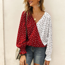цены V-neck Blouse Lady Dot Point Shirt Casual Long Sleeve Shirt Contrast Color Casual Butterfly Sleeve Blouse Office Blusas Camisa