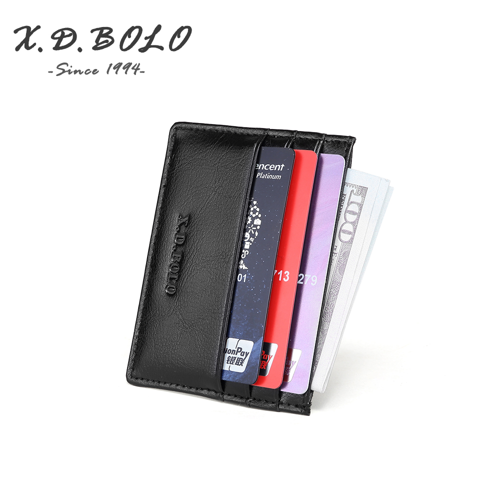 X.D.BOLO 2019 Small Wallet Card Women Unisex Fashion Women Genuine Leather Bank Card Package Coin Bag Card Holder RFID Blocking