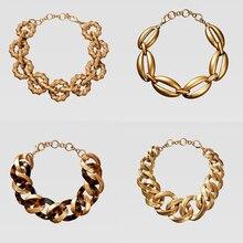 Dvacaman ZA панк большое Золотое металлическое ожерелье-чокер для женщин новейшая мода длинное ожерелье с круговым воротником