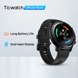 TicWatch GTX Fitness Smartwatch for Android &IPhone Long Battery Life IP68 Waterproof Heart Rate Monitoring Sleep Tracking