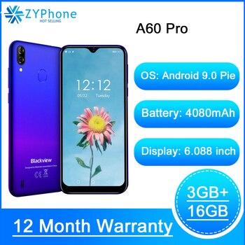 Перейти на Алиэкспресс и купить Мобильный телефон Blackview A60 Pro, Android 9,0, MT6761V, четырёхъядерный, 3 ГБ 16 ГБ, экран Waterdrop, 4080 мАч, смартфон со сканером отпечатков пальцев