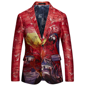 YASUGUOJI Smart Casual Slim Fit Blazer Men 2020 Fashion Printed Panelled Red Color Mens Suit Coat Men's Performance Jacket