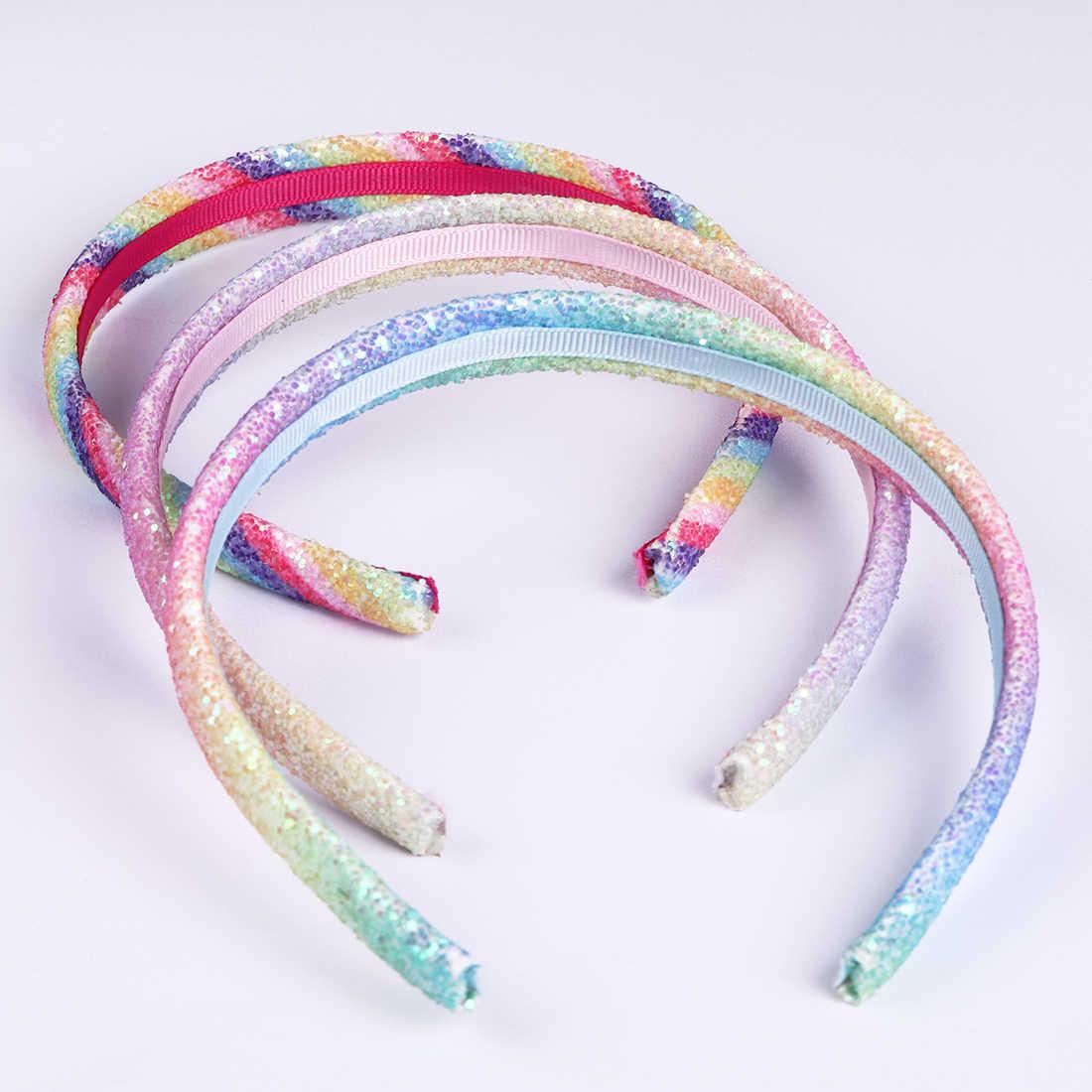 8 Buah/Set Glitter Ikat Kepala Gadis Manis Rambut Wanita Bando Pelangi Payet Dicetak Jantung Anak Aksesoris Rambut