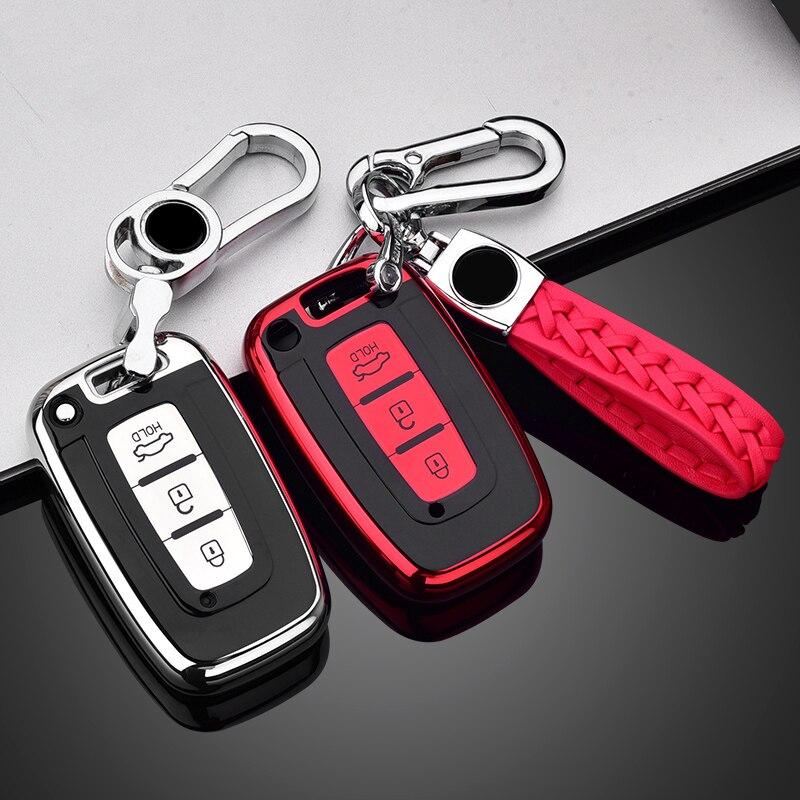 Funda de TPU suave para llave de coche, para Hyundai Solaris HB20 Veloster SR IX35 Accent Elantra i30, para KIA RIO K2 K3 Sportage, accesorios