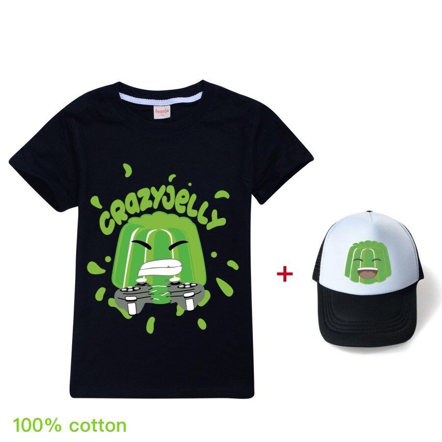 Новые летние детские футболки для мальчиков и девочек с рисунками из мультфильмов, желе, Youtube, детские футболки и шляпа от солнца