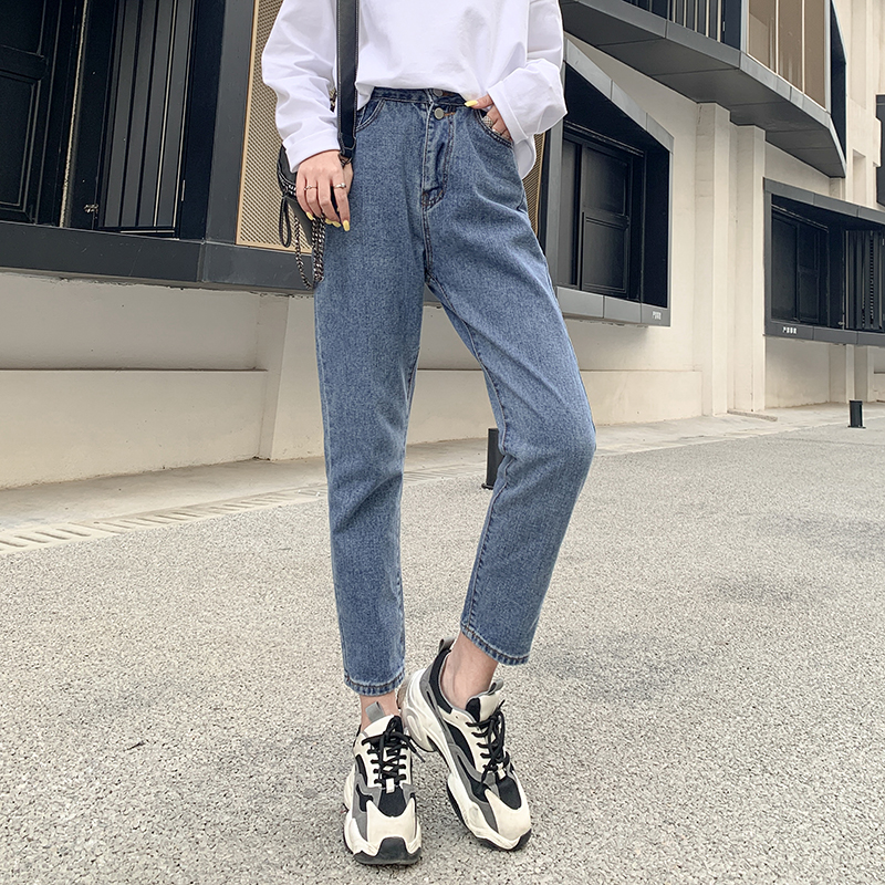 Women High Waist Blue Jeans Washed Boyfriends Mom Loose Casual Streetwear Retro Harem Denim Pants