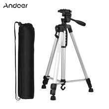 Andoer Lightweight Photography Tripod Stand for phone AluminumAlloy with Carry Bag Phone Holder for Canon Sony Nikon DSLR Camera