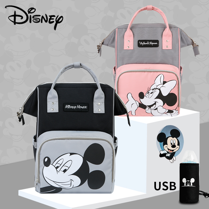 Disney Mickey Minnie USB Diaper Bag Nappy Bag Large Capacity Maternity Mummy Baby Travel Backpack For Baby Care Designer Pink