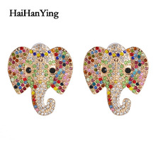 New elephant crystal boutique earrings animal exaggerated personality women charm wedding party gift fashion earrings jewelry 2018 new arrival exaggerated big necklace and earrings jewelry sets austrian crystal for wedding or party ethnic free shipping