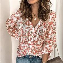 Verão flores impressas dobras camisa feminina doce decote em v manga longa único breasted camisas femininas 2021 moda casual senhoras topos