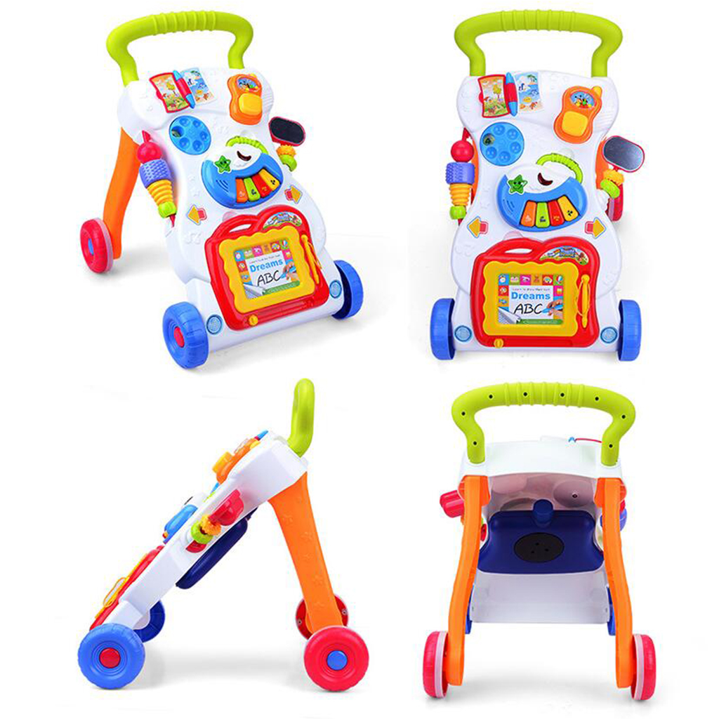 Baby Sit to Stand Walkers Toy Kids Activity Play Center with Musical Learning Push Walker Toys Gift for Baby Toddlers