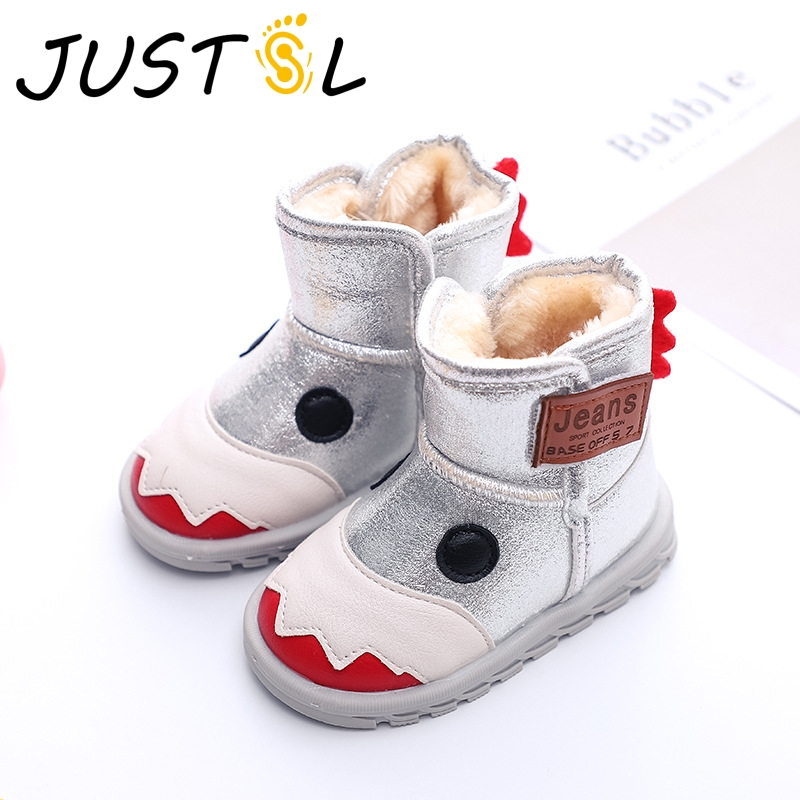 JUSTSL Autumn Winter Children's Cotton Shoes Boys Girls Fashion Plus Velvet Little Monsters Style Warm Kids Snow Boots