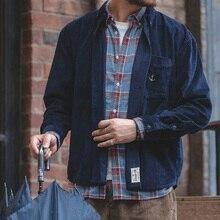 Männer Lange Sleeve Button Down Dicke Cord Hemd mit Tasche