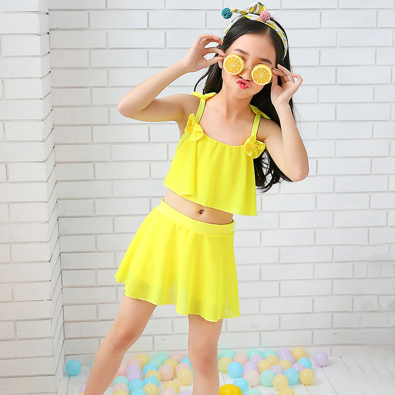 New Products KID'S Swimwear Girls Big Boy Pink Princess Cute Parent And Child Baby Students Solid Color Swimming Suit