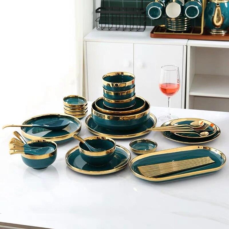 Ensemble d'assiettes à dîner en céramique | De luxe européen soucoupe aromatisée or Phnom Penh assiette de logement profonde 8/10 pouces cuillère à soupe - 4