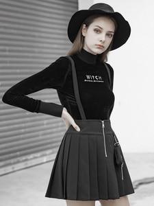 Женская облегающая бархатная футболка, черная приталенная футболка с маленьким высоким воротником, в стиле панк, Осень-зима