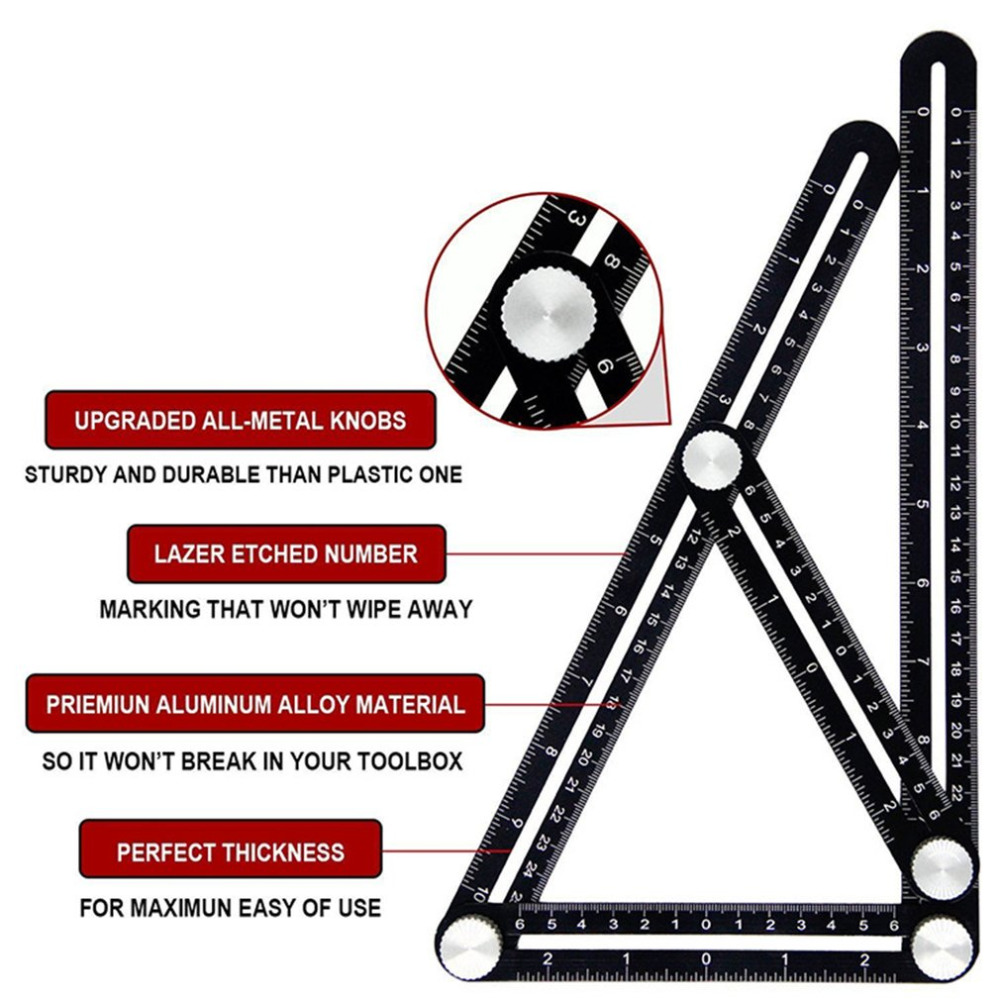 Hd9e1775d630540e7bc97beb0be6bd9054 - 2019 Construction Multi Angle Measuring Ruler Aluminum Folding Positioning Ruler Professional DIY Wood Tile Flooring Tool