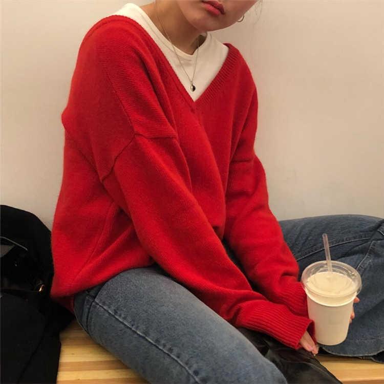 Maglie e Maglioni Colorfaith Nuovo 2019 Inverno delle Donne di Autunno Allentato Casual Minimalista Alla Moda Magliette e camicette Stile Coreano di Lavoro A Maglia Delle Signore SW7113