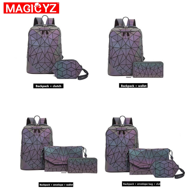 Image 3 - Laser Luminous Triangle Sequin set Backpack for women's shoulder bag School Girls Backpack Female Design Backbag holographic bag-in Backpacks from Luggage & Bags