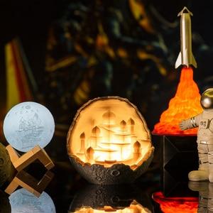 Image 3 - 2019 새로운 Dropship 야간 조명 3D 인쇄 문 성 램프 로켓 램프 애호가를위한 선물로 문 램프처럼