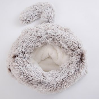 Round Plush Cat Bed House Cat Mat Winter Warm Sleeping Cats Nest Soft Long Plush Dog Basket Pet Cushion Portable Pets Supplies image