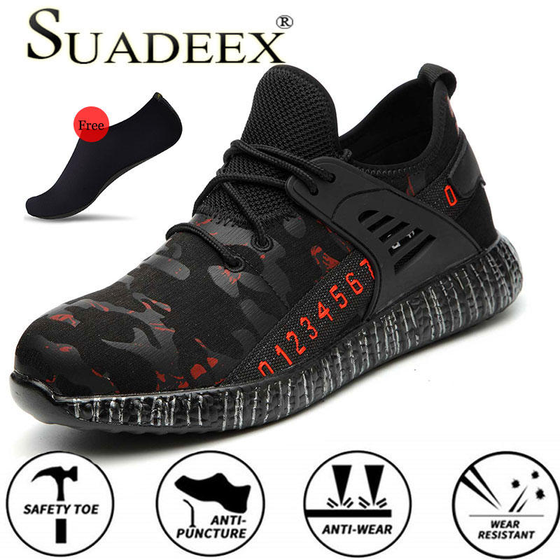 SUADEEX S1 Safety Shoes Work Puncture Proof Construction Footwear Anti-smashing Steel Toe Indestructible Shoes With Water Shoes