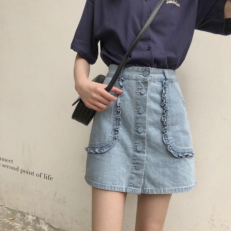 Skirt Women's Summer 2019 New Style WOMEN'S Dress Korean-style Students High-waisted Slimming Frilled Denim Skirt A- Line Short