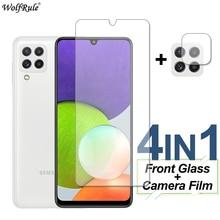 Vidro de proteção para samsung galaxy a22 m12 f52 a12 a52 a72 protetor de tela de vidro temperado lente do telefone filme para samsung m51 m31s