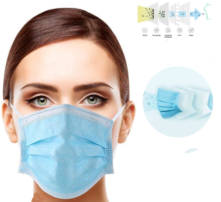 Non woven 3 layers Anti dust face Masks Disposable Safe Breathable Mouth Mask Kids Adult Ear loop Filter MasksWomens Masks   -