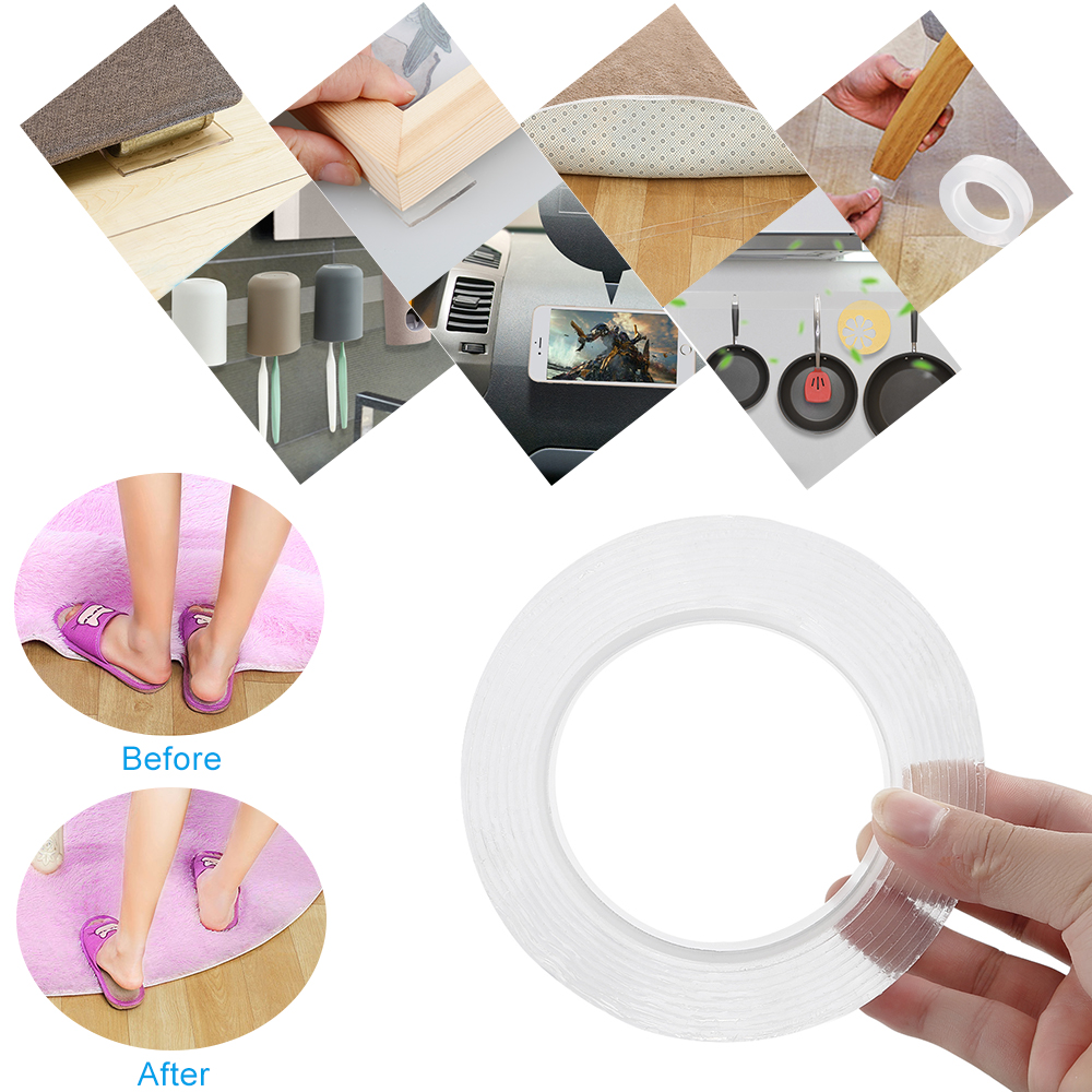 1/2/3/5m Reusable Double-Sided Adhesive Nano Traceless Tape Removable Sticker Washable Adhesive Loop Disks Tie Glue Gadget