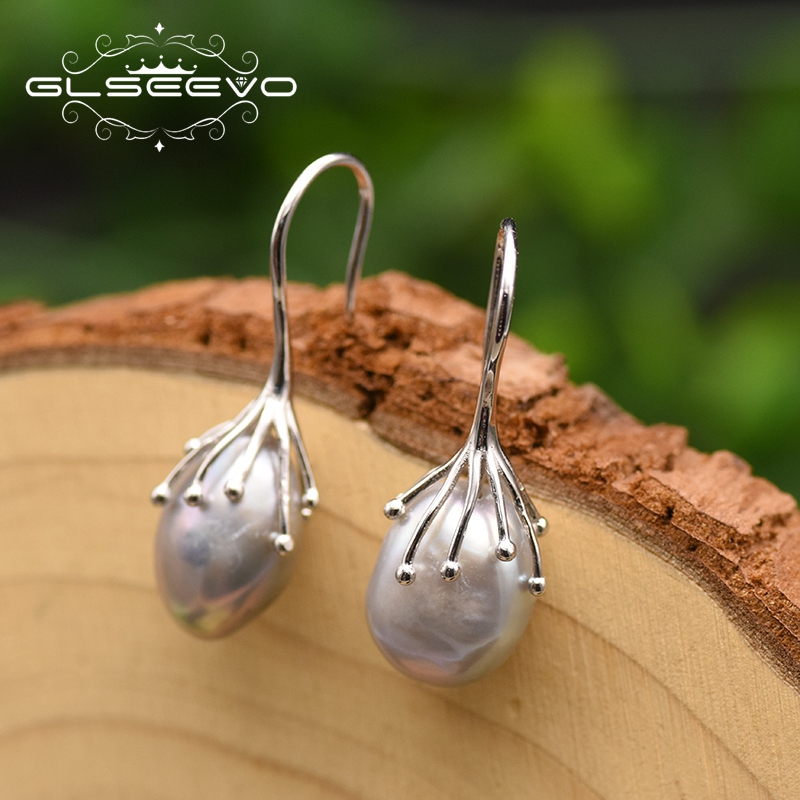 GLSEEVO Pearl Earrings Jewelry 925-Sterling-Silver Water-Baroque Women Natural Luxury title=