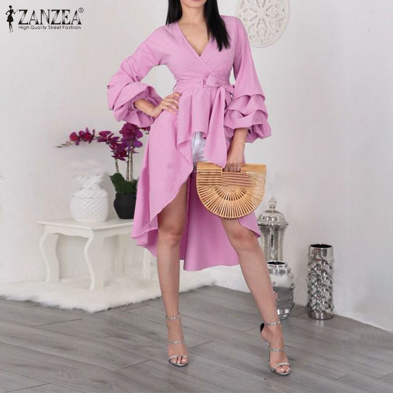 ZANZEA Fashion Women Asymmetric Shirt Spring Plaid Checked Blouse Ladies Elegant V Neck Puff Sleeve Work Blusas Robe Top Vestido