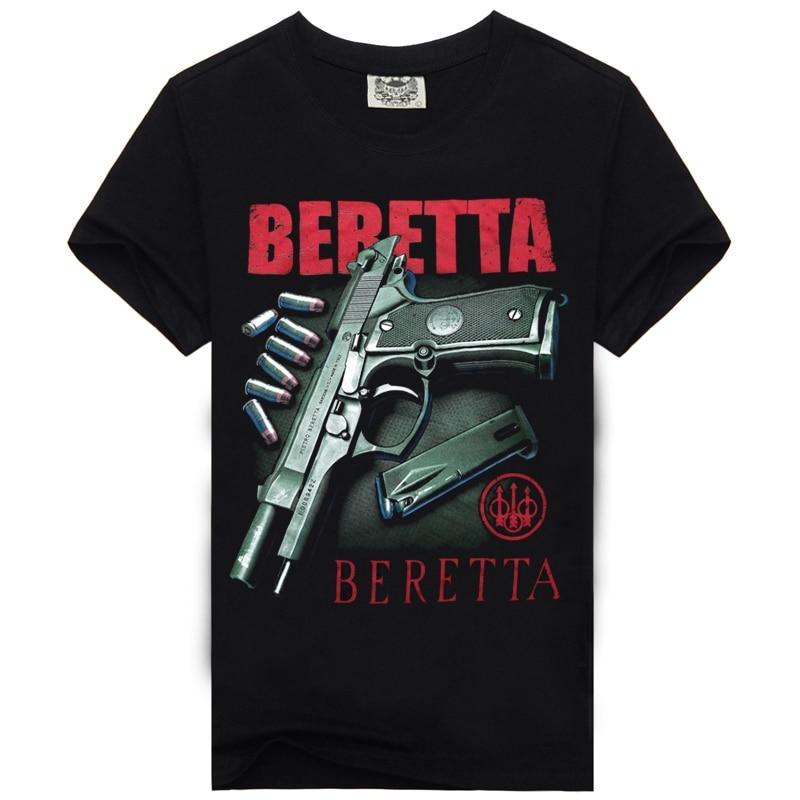 [Men Bone] Men's Beretta Gun Tshirt Casual Black Cotton 3d T Shirt Clothing Men T Shirt Printing Style T-shirt Men