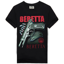 Clothing Men Tshirt Beretta-Gun Printing-Style Black Casual Cotton Bone Men's