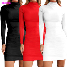 купить 2019 autumn and winter new European and American style high collar sexy fashion Slim bag hip solid color long-sleeved dress по цене 957.43 рублей