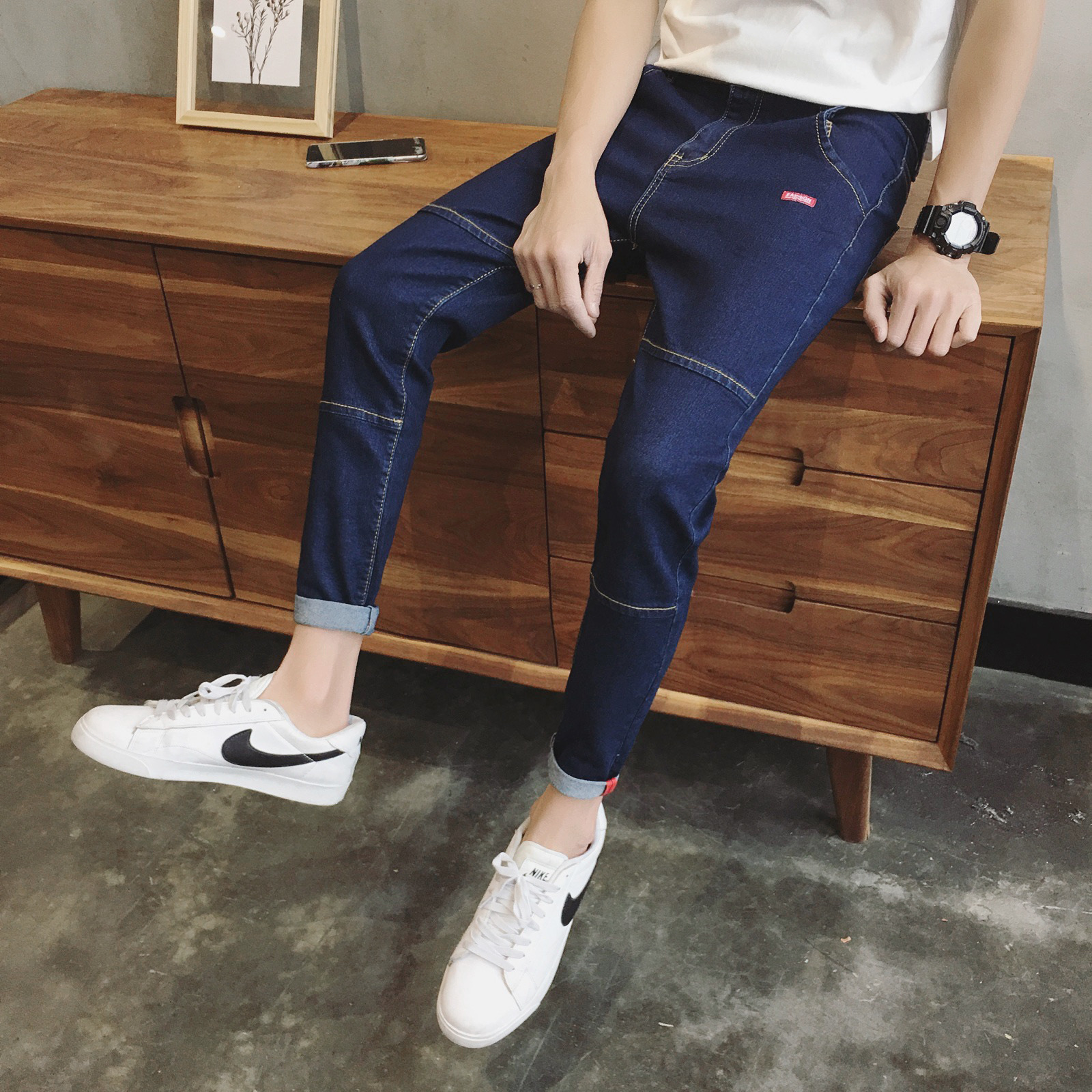 Spring And Autumn New Style Hong Kong Style Men Elasticity Capri Jeans Fashion Men'S Wear Slim Fit Pants 9 Pants