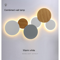 18W Creative DIY Led Solar Eclipse Indoor Wall Lamp White Black Wood Color Living Room Decoration Round Sconces Home Lighting