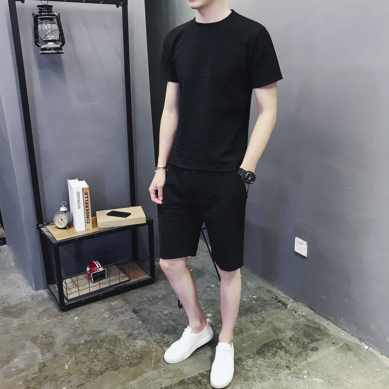 2019 MEN'S Summer Suits Short Sleeve Korean-style Slim Fit Shorts Men's Casual Sports Set YOUTH'S Short-sleeved T-shirt Fashion