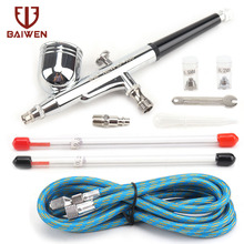 Dual-Action Airbrush with 0.2mm 0.3mm 0.5mm Nozzle Set Gravity Feed Pistol Pneumatic