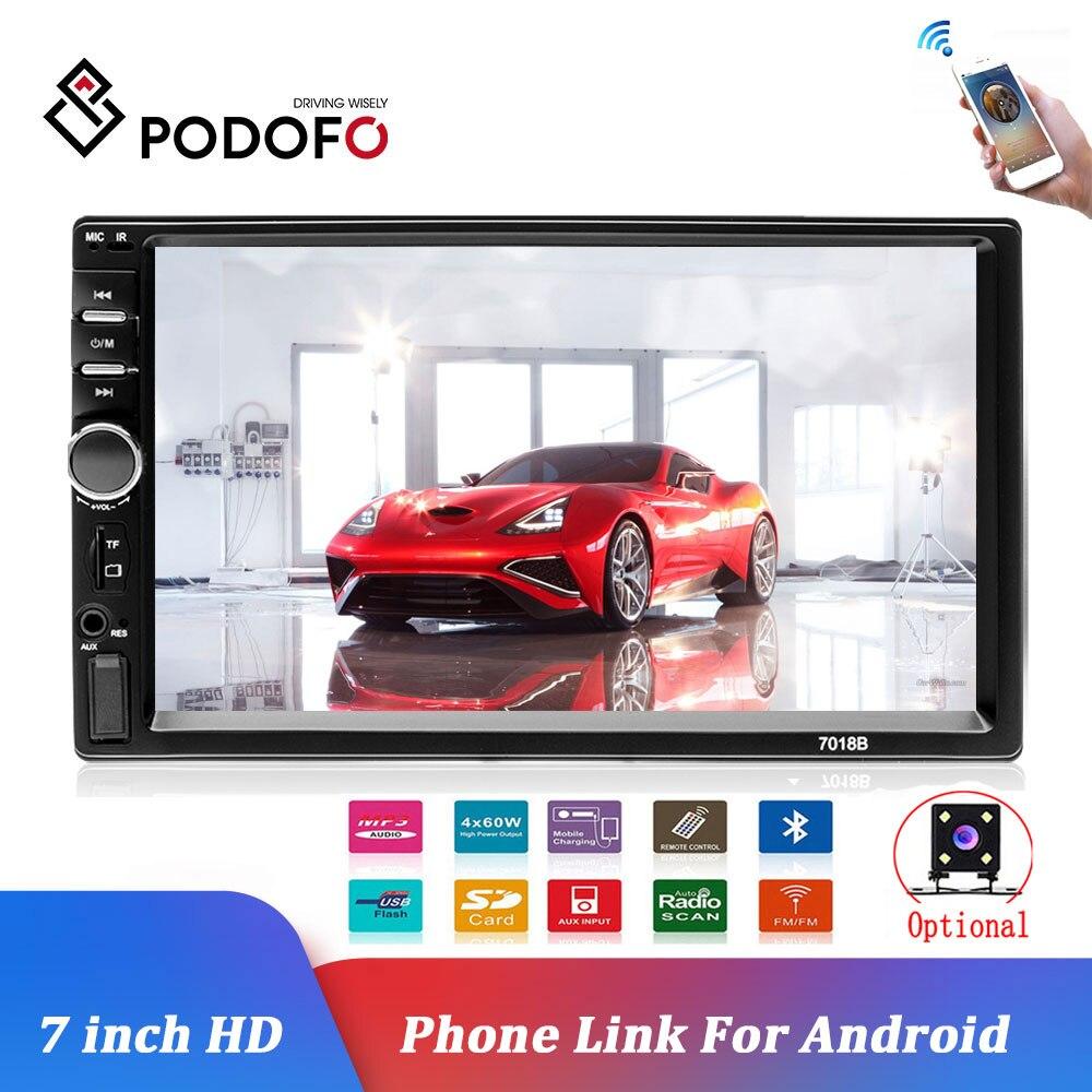 Reproductor Multimedia de coche Podofo Autoradio 2Din 7 HD Radio de coche Audio estéreo pantalla táctil auto MP5 reproductor Bluetooth TF USB Cámara FM