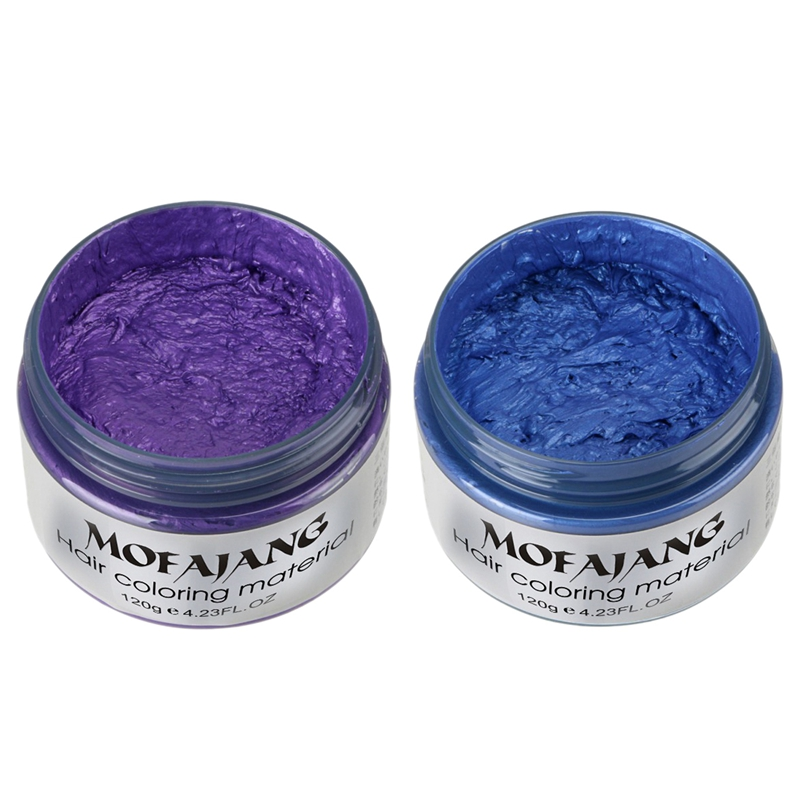 Produtos de Styling Tintura de Cabelo Tintura de One-time Cor de Cabelo Mofajang Estilo Cera Moldagem Pasta Make up Azul & Roxo Pcs 2