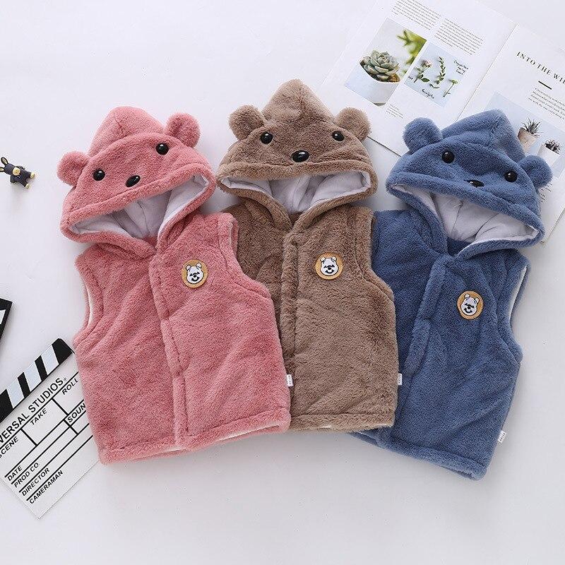 Amya Детские осень-зима из искусственного меха куртка с капюшоном, жилетка для мальчиков и девочек, теплый детский комбинезон Костюмы Верхняя Одежда для новорожденных мальчиков Детская жилетка детская безрукавка