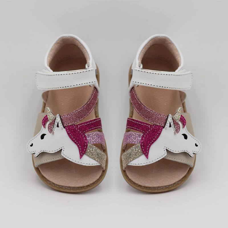 Top Brand Unicorns Soft Leather In Summer New Girls Children Barefoot Shoes Kids  Sandals
