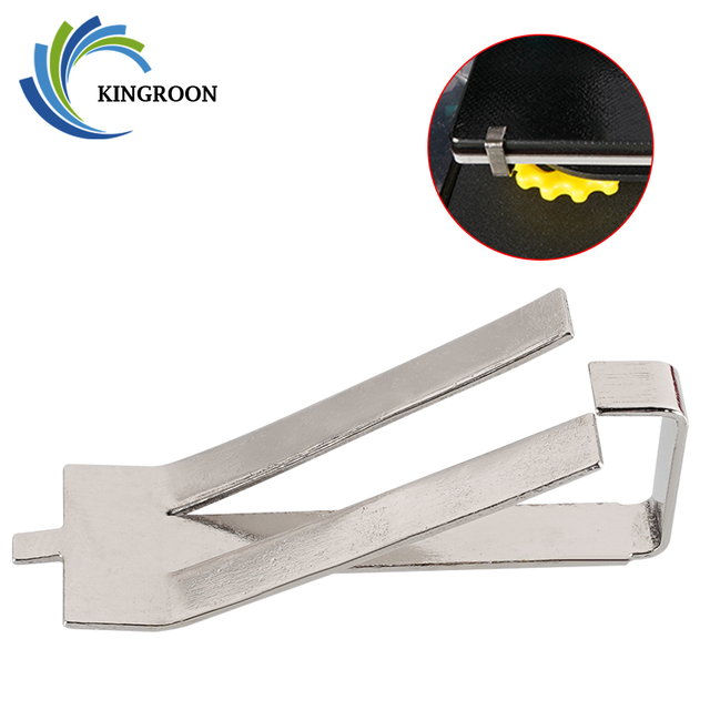 KINGROON 4pcs Stainless Steel Glass Heated Bed Clip Clamp 3D printer parts Heatbed clip For Ultimaker Build Platform Retainer 1
