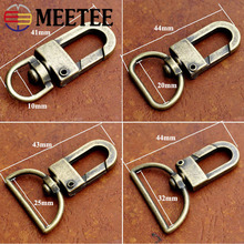 Meetee 5/10pcs Bronze Lobster Buckle 10/20/25/32mm Spring Hang Hook for Pet Collar Luggage Key Chain Crafts Accessories BF267