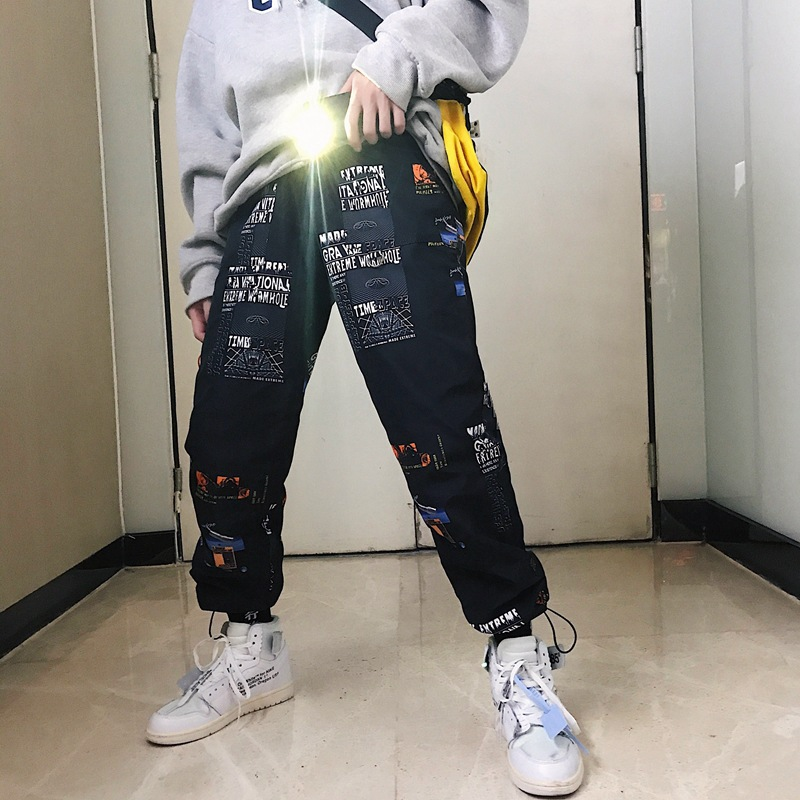 INS Super Fire Pants Popular Brand Hiphop Loose Casual Athletic Pants BOY'S And GIRL'S Straight-Cut Closing Casual Pants
